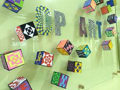 Op Art display cubes