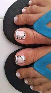 42 Ideas Nails Sencillas Verano Pies in 2020 Pedicure Designs, Pedicure Nail Art, Toe Nail Designs, Toe Nail Art, Nails Design, Pretty Toe Nails, Cute Toe Nails, French Acrylic Nails, French Nails
