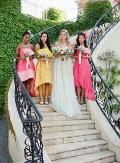 colorful bridesmaid dresses - photo by Mary Jane Photography http://ruffledblog.com/modern-cinderella-inspired-wedding-ideas