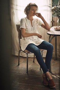 Tiered Lace Tunic #anthrofave #anthroregistry
