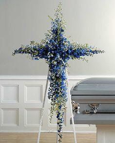 Blue Delphinium Cross   Funeral Flowers by Lorraine   Fairfield ...
