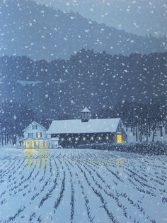 """Seven-color linocut print of a New England farmhouse in the early evening snow, entitled """"First Snow"""""""