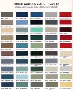 Classic Mini Cooper - Austin Version of BMC Paint Color Codes