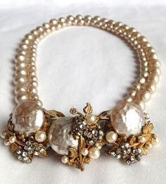 Miriam Haskell Signed Baroque Pearl Necklace and Earrings Demi Parure Excellent  #MiriamHaskell