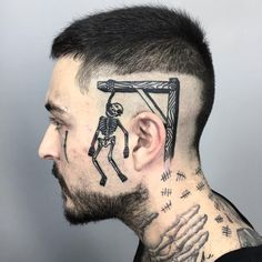 Hang man tattoo by Paul Hill #PaulHill #darkarttattoos #linework #traditional #hangman #illustrative #skull #skeleton #death #hanging #noose #rope #bones #tattoooftheday