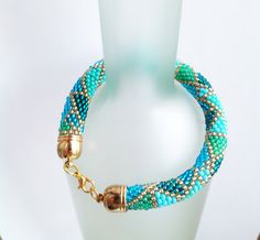 Geometric Bracelet Turquoise Beaded Rope by DeerestJewelry on Etsy