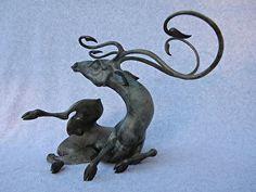 Awakening Buck- alternate version by artist Timothy Nimmo. Bronze #sculpture found on the FASO Daily Art Show -- http://dailyartshow.faso.com