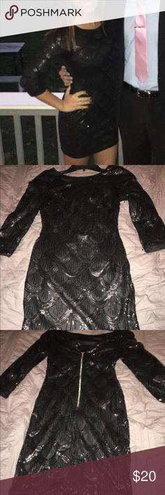 Black sequin dress Black scalloped sequin dress with 3/4 sleeves from Windsor, worn once WINDSOR Dresses