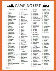 Free Printable: The Ultimate Car Camping Checklist - The Young Narrative