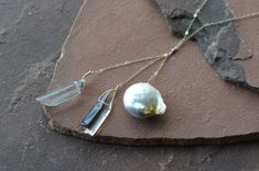 Pearl and Crystal Necklace Baroque Pearl Rock Crystal by gewgaws