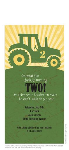 """Big Green Tractor Birthday Party Invitation by relishdesignstudio  My people are older than this, but what a fun party this would be! Love the """"give me a holler""""...cute"""