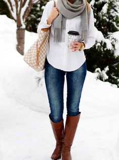 Nice outfit for winter. Love the boots