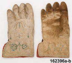Handskar  Produktion 1803 Brukningsort: Sverige  Skåne Brukningsort: Sverige  Småland  Allbo hd Identifier NM.0162396A-B Nordiska museet