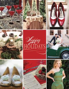 Holiday Wedding Inspiration #wedding #red #green #shoes #decor #centerpiece #bridesmaid #placesetting #cocktails