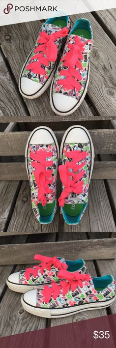 🆕List! Girlie Print Converse! New Laces! EUC! Women's size 5 All Stars with print including lipstick, purses, cameras, cell phones, hearts, cherries, and shoes! Fat hot pink laces added - I can change them if you prefer something different. Great condition! Converse Shoes Sneakers