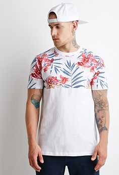 Tropical Floral-Paneled Tee | 21 MEN - 2002247861