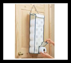 Toilet Roll Organiser Holder Door Toilet paper Storage Bag Hanger Loo Paper NEW Bathroom Toilet Paper Holders, Toilet Paper Storage, Loo Roll Holders, Toilet Roll Holder, Fabric Storage, Bag Storage, Bathroom Store, Bathroom Crafts, Bathrooms
