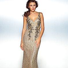 Column/Sheath V-neck Gown Plus Size NWT Floor length sequined v-neck gown with sheath panels make this dress both sexy and elegant! I had this dress handmade for a Mardi Grad ball last year but sadly it wasn't finished in time. I've lost weight since then and it is way too big to be tailored so I'd like to pass it on to some other lucky lady for a fraction of the price. It's fully lined with a built-in bra and boning for structure. I can send you exact measurements upon request. Perfect for…