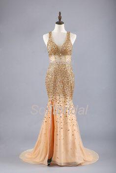 Gorgeous Sexy Gold Rhinestone Side Slit Long Prom Dresses, PD0256