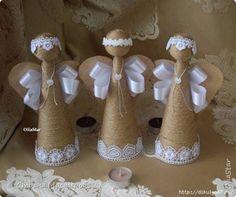 Aprende cómo hacer estos hermosos ángeles navideños al estilo rústico fáciles - Ideas crear