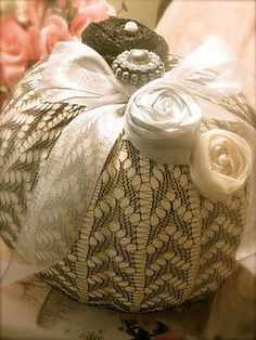 """Pumpkin decorated with lace and """"jewelry"""", other trims"""