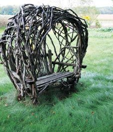 twig & limb bench. Gorgeous....can you imagine roses, clematis or ivy covering this....wow I'd love to have it in my yard.