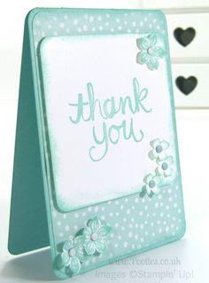 Stampin' Up! ... handmade thank you card ...  monochromatic aquas ... pretty card ...