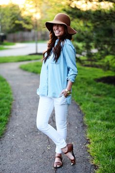 Perfect outfit.  Except for the hat.  Great on her, not for me. Chambray, White Skinny Jeans.