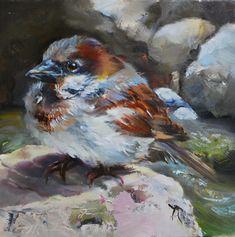"""Olieverfschilderij """"Even opdrogen"""" 14 x 14 cm paneel (Verkocht)"""