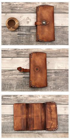 LARP Spell Cards Money Bag Leather Pouch Credit Character Card Black and Brown