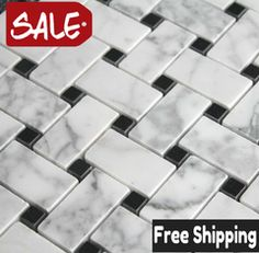 Carrara Marble Basketweave Mosaic With Black Dot (Polished Finish) On Sale! 8.50 sq.ft -