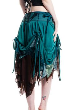HIGH-FRONT RAGGED PIXIE WRAP SKIRT, steampunk, burlesque, psytrance, Boho, gypsy | eBay
