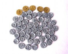 Set of Silver Polymer Clay coins for games or just hidden treasure. :)