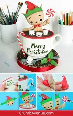 super ideas for cake fondant christmas sweets Fondant Cupcakes, Fondant Toppers, Fun Cupcakes, Cupcake Cakes, Christmas Hot Chocolate, Christmas Sweets, Christmas Baking, Christmas Cookies, Merry Christmas