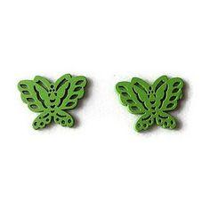 Embellissement papillon vert vif en bois 22x28 mm, scrapbooking x2