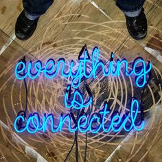 Everything Is Connected Neon Sign Ready-Made ($1,000) ❤ liked on Polyvore featuring home, home decor, wall art, blue, home & living, home décor, wall décor, hand signs, blue neon sign and blue home decor