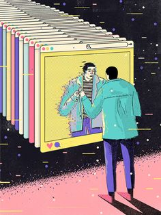 """Identity Duality in the Age of Social Media"" by Abbey Lossing Social Media Art, Brush Pen Art, Grey Art, Identity Art, A Level Art, Typography Poster, Art Plastique, Aesthetic Art, Satire"