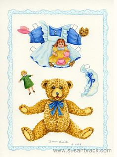 Image result for teddy bear paper dolls