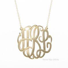 Gold Monogram Necklace - Signature Jewelry | Three Hip Chicks