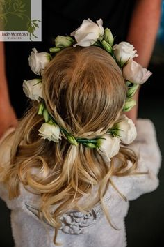 Gorgeous flower girl crown in white and blush pink tones featuring roses and lisianthus. www.jademcintoshflowers.com.au