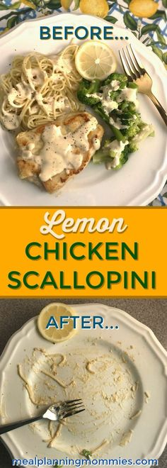 Lemon Chicken Scallopini - Rich, creamy sauce poured over flour crusted chicken with angel hair pasta, and steamed broccoli on the side… That's what this Lemony Chicken Scallopini recipe is all about. - Meal Planning Mommies