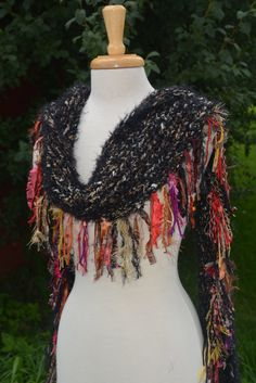 Warm Shanghai 'Showstopper' Series - Glitzy Ribbon-Eyelash Multitextural Fringed Knit Scarf or Shawl in Black and tan with red, orange, gold on Etsy, $65.00