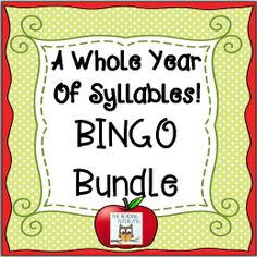 12 Syllable BINGO games, 1 for each month of the year. Low prep, print and play, literacy center $