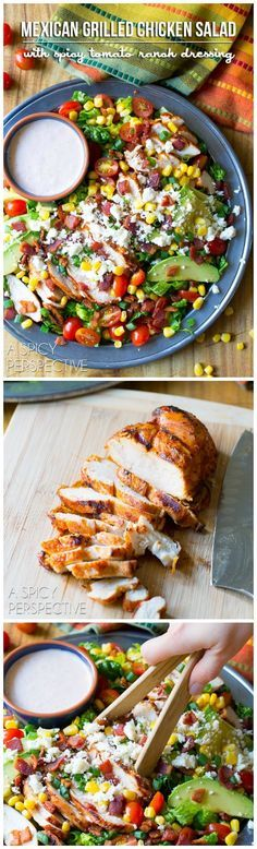 Zesty Mexican Grilled Chicken Salad with corn on ASpicyPerspective.com
