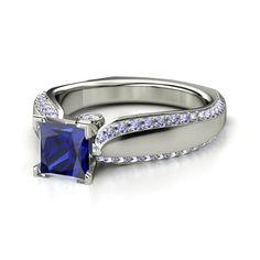 Princess Sapphire 14K White Gold Ring with Diamond