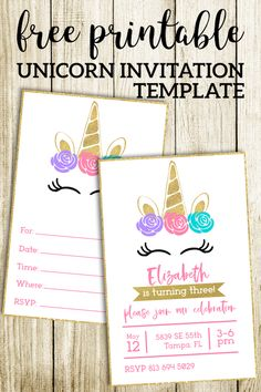 Unicorn birthday invitation or . Unicorn birthday invitation or unicorn baby shower inv Unicorn Themed Birthday Party, Unicorn Birthday Invitations, Birthday Invitation Templates, Unicorn Birthday Parties, Birthday Party Themes, Invitations Kids, Birthday Games, Shower Invitations, Birthday Ideas