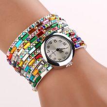 Kadınlar Saatler 2015 Moda Renkli Bileklik İzle Kadınlar Elmas Kol Saatleri Relogio Quartz Casual Kadın Bilezikler Saatler (Çin (Anakara))