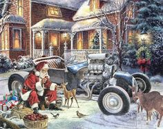 Reindeer are too slow. The Santa Hot Rod T-Bucket roadster is the jolly gent's new speedy way to make his rounds. See our Santa Hot Rod T-Bucket video proof Christmas Truck, Christmas Scenes, Victorian Christmas, Vintage Christmas, Handmade Christmas, Rockabilly, T Bucket, Santas Workshop, Santa Sleigh