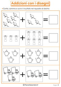 Mathematical Games on Additions for Children to Print- Giochi di Matematica sulle Addizioni per Bambini da Stampare Mathematical Games on Additions for Children to Print - Kindergarten Reading Activities, Kindergarten Math Worksheets, Math Literacy, Preschool Learning, Math Activities, Color Worksheets For Preschool, Printable Alphabet Worksheets, Math Formulas, Math Addition