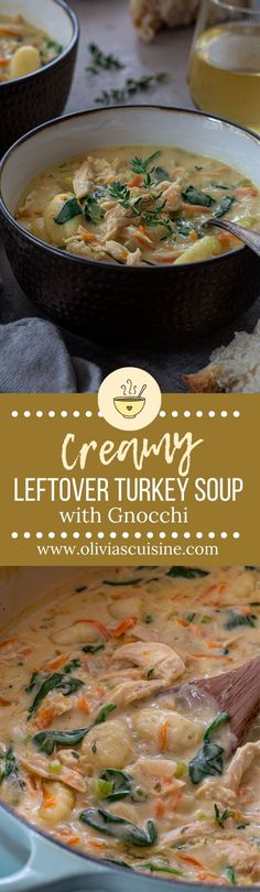 This Creamy Leftover Turkey Soup with Gnocchi makes the most out of that leftover Thanksgiving (or Christmas) turkey that has been in your fridge! Leftover Turkey Soup, Turkey Leftovers, Christmas Turkey, Thanksgiving, Creamy Turkey Soup, Soup Recipes, Cooking Recipes, Sweets Recipes, Dinner Recipes